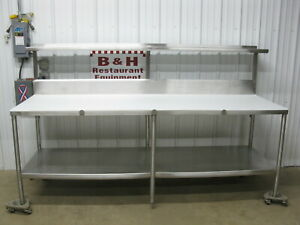 96 Stainless Steel Butcher Cutting Board Poly Top Table W Over Shelf 8 X 30