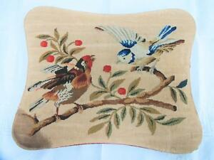 Antique Victorian Needlework Woolwork Panel Mounted On Board Birds C1880