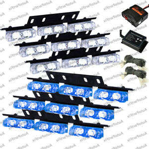 High Power Blue White Led Emergency Warning Strobe Lights Bars Car Dash Grill