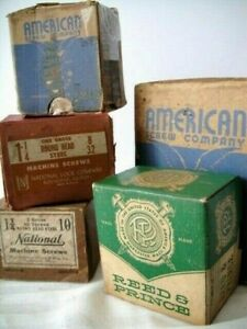 Vintage Mixed Lot Machine Screws 5 Boxes Reed Prince National American