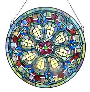Tiffany Style 24 Round Victorian Design Stained Glass Window Panels Pair