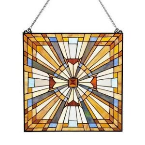 Stained Glass Tiffany Style Window Panel Victorian Mission Design 17 5 X 17 5