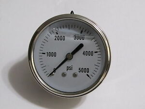 New Hydraulic Liquid Filled Pressure Gauge 0 5000 Psi 1 4 Npt Cbm 2 5 Face