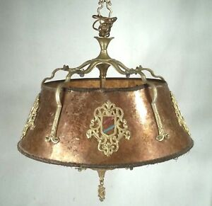 Antique Mission Arts Crafts Mica Shade 5 Light Brass Hanging Chandelier