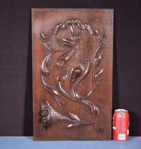Antique French Highly Carved Panel In Oak Wood Salvage W Flowers
