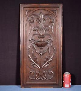 Antique French Highly Carved Panel In Oak Wood Salvage W Urn And Ribbons