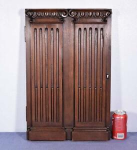 French Antique Panel Door With Greek Ionic Columns In Walnut Wood Salvage 1
