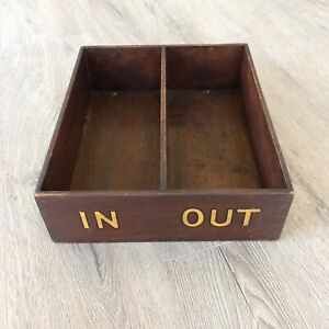 Vintage Chicago Hotel Motel Wood Tray Desk Mail Key Organizer In Out Box