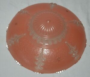 Vintage 3 Chains Pink Clear Ceiling Light Shade Fixture Chandelier Leafy Art D