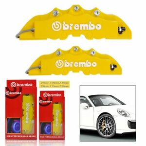 4x Yellow 3d Brembo Style Front Rear Universal Disc Car Brake Caliper Covers
