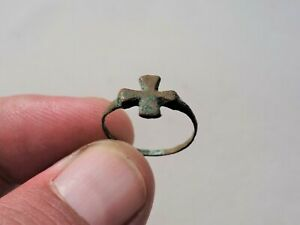 Ancient Late Roman Byzantine Bronze Ring Nicely Decorated With Cross