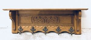 Vintage French Oak Carved Hanging Rack Kitchen Rack Hall Tree Shelf Rack 5 Hooks