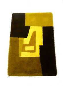 60s Mid Century Danish Modern Abstract Vintage Cubist Wool Carpet Shag Rug