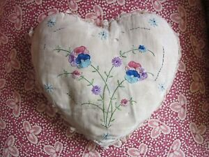 Antique Edwardian Hand Embroider Heart Pillow W Lace Romantic Mothers Day Gift