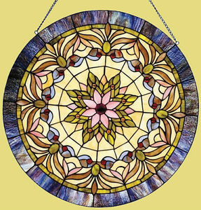 Victorian Stained Glass Window Panel Tiffany Style 22 Round Last One This Price