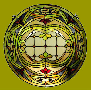 Tiffany Style Stained Glass Victorian Round Window Panel Only One This Price