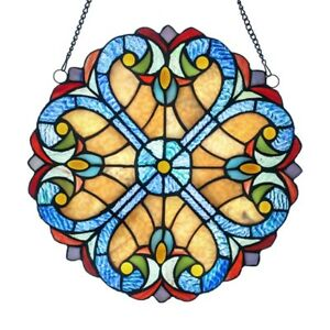 Tiffany Style Stained Glass Window Panel Colorful Round 12 Diameter Pair