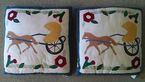 Vintage Pillows Pair Horse And Carriage Buggy Pillows Wedding Marriage Quilted