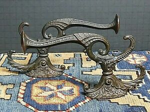 Pair Of Victorian Ornate Solid Coppered Bronze Hat Coat Brackets Large Excellent