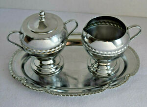 Vintage Silverplated Cream And Sugar Metal With Tray