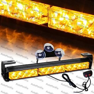14 Inch Led Amber Yellow Bar Emergency Truck Strobe Flash Light Warn Truck