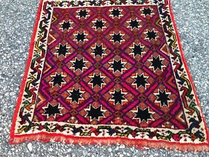 Antique Rug Vintage Tribalrug Hand Knotted Nice Design And Colors Wool 2x2