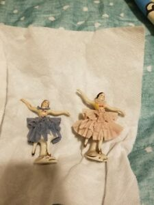 2 Rare Vintage Dresden Lace Ballerina Dancer Figure Germany