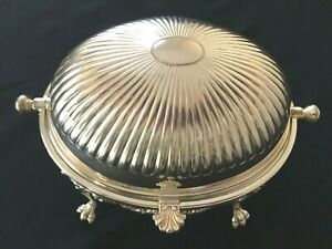 Antique English Silverplate Roll Top Breakfast Server Bun Warmer Victorian
