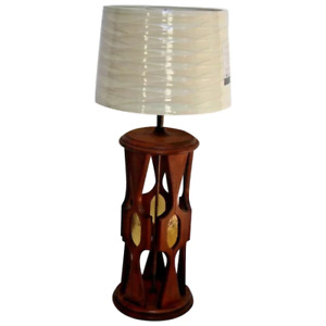 Large Vintage Retro Mid Century Walnut Table Lamp With Lucite Center Accents