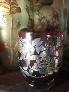 Antique Cranberry Art Nouveau Laugharne Sterling Silver Glass Overlay Vase Flora