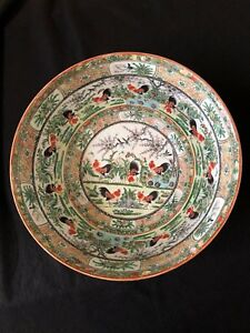 Rare Large 14 1 8 Chinese Qing Dynasty Famillee Rose Punch Bowl Of Roosters