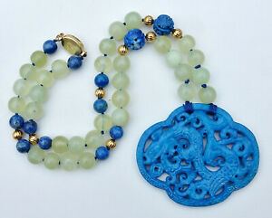 Vintage Chinese Pale Celadon Jade Dragon Necklace Hand Knotted Lapis Beads 20