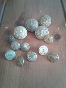 Lot Of 13 Antique Metal Uniform Buttons P Police Superior Quality Free Ship