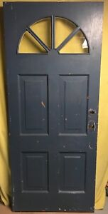 Antique Victorian Wood Exterior French Entry Door W Half Moon Glass 34x80