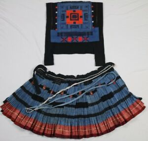 Chinese Miao People Old Hand Embroidery Batik Jacket Skirt One Set Costume Cloth