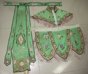 3pieces Chinese Old Hand Embroidery Silk Cappe Shawl Cape Mantle Cloak Skirt Set