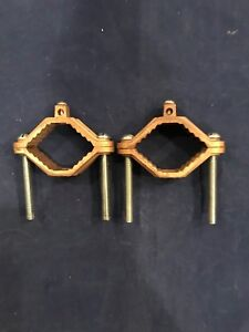2 Bronze 1314 Grounding Clamps 2 To 3 New Electrical Fitting