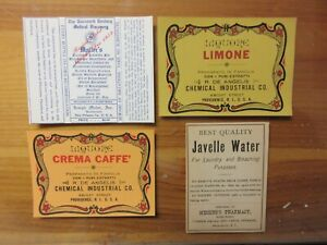 4 Old Pharmacy Apothecary Medicine Bottle Labels Vintage Ephemera Lot