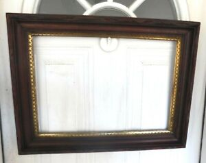 Victorian Walnut Deep Carved Frame Overall 18 X 24 1 2 Yellow Gold Liner