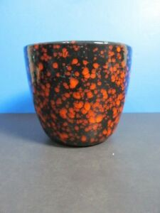 Vintage Fat Lava Era Red Black Splatter Decor Planter Vase 4 1 4 Tall Signed