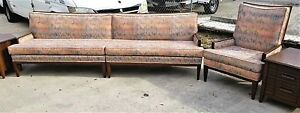 Vtg 3 Pc Francine Interiors Mcm Mid Century Modern Flamestitch Sofa