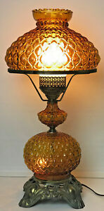 Vintage Quilted Amber Glass Hurricane Table Lamp 3 Way Switch 22 Tall