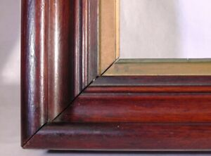 Antique 1850 S Deep Cove Fancy Gold Inset Walnut Wood Picture Frame