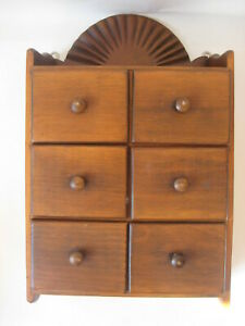 Vtg Wood Wall Spice Cabinet Old Primitive Chest Rack Apothecary Drawer Antique