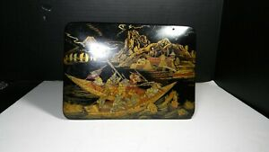 Antique Japanese Lacquer Box Papier Mache Elaborate Decorations 5 Scenes Meiji