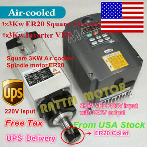 usa Stock Square 3kw Air Cooled Spindle Motor Er20 inverter Vfd 220v Cnc Kit