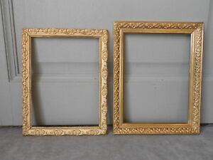 2 French Vintage Wood Gilded Stylish Picture Frames
