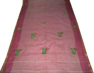 Vintage Pure Cotton Saree Zari Fabric Floral Craft Hand Beaded Sari Indian Ooak