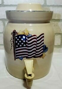 Home Garden Party Americana Water Jug Crock Made In Usa Retired 05