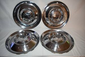 Vintage 1950 S Mercury Mercman Hubcaps Set Of 4